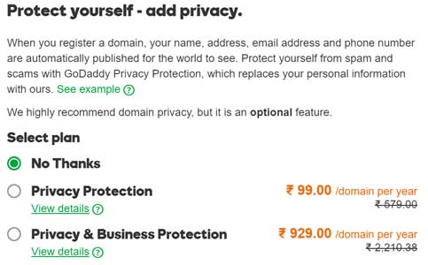 Privacy Protection Screenshot